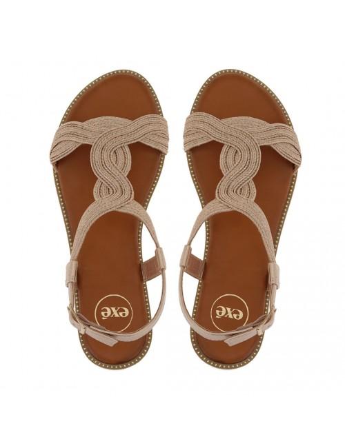 Γυναικείο παπούτσι flat EXE M468D991162F ΡΟΖ ΧΡΥΣΟΣ
